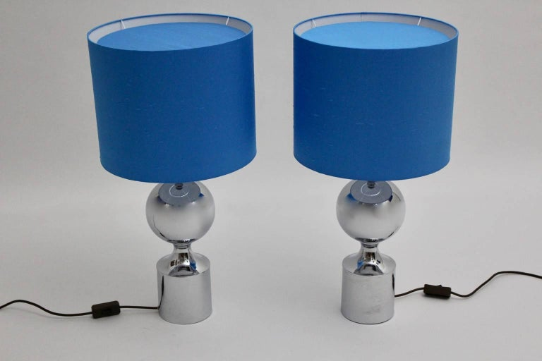 Chromed Table Lamps 1960s France with Blue Shades In Good Condition For Sale In Vienna, AT