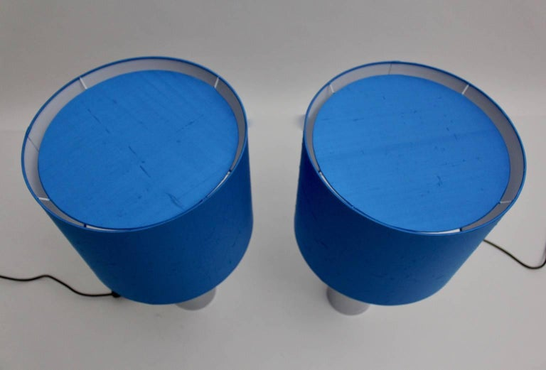 20th Century Chromed Table Lamps 1960s France with Blue Shades For Sale