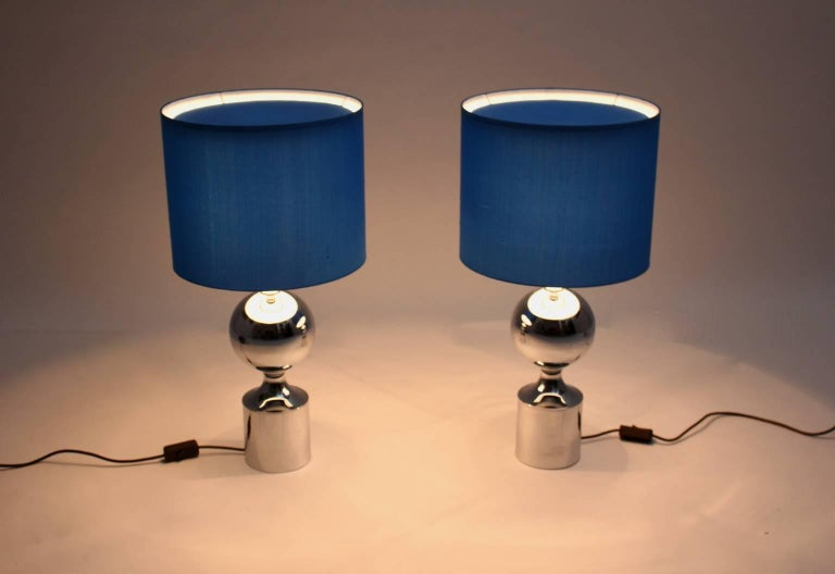 Silk Chromed Table Lamps 1960s France with Blue Shades For Sale
