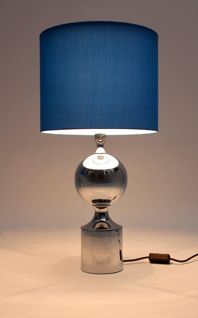 Chromed Table Lamps 1960s France with Blue Shades For Sale 1