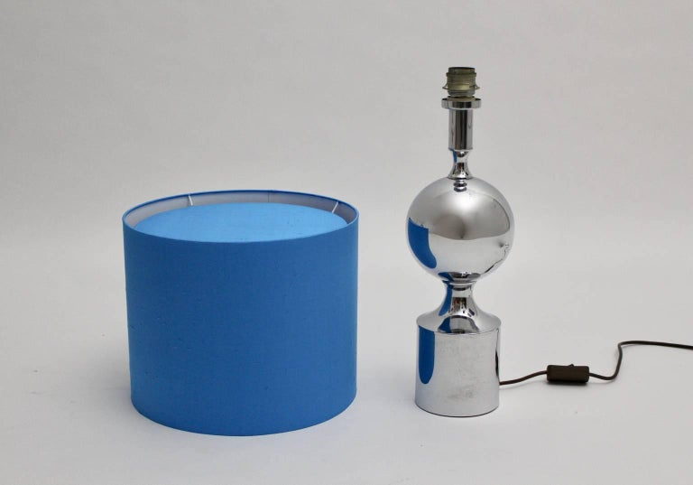 Chromed Table Lamps 1960s France with Blue Shades For Sale 2