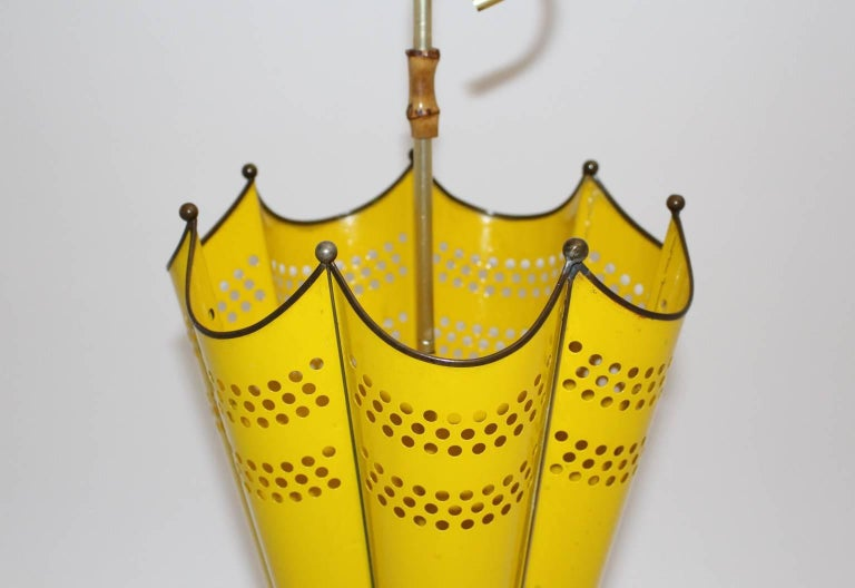 20th Century Mid Century Modern Yellow Umbrella Stand, 1950s, Italy For Sale
