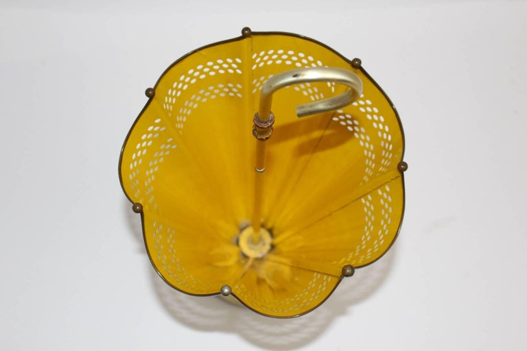 Metal Mid Century Modern Yellow Umbrella Stand, 1950s, Italy For Sale