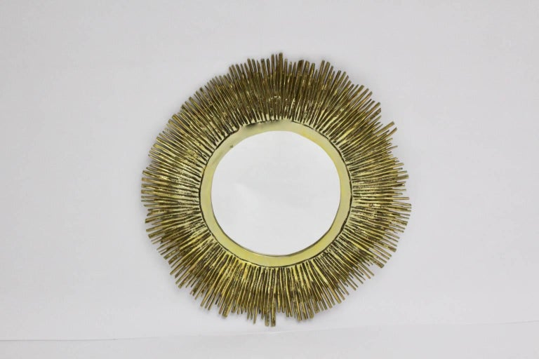 Mid-Century Modern Brass Sunburst Mirror France, 1960s For Sale