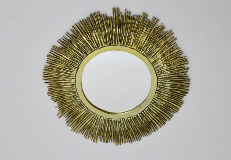 French Brass Sunburst Mirror France, 1960s For Sale