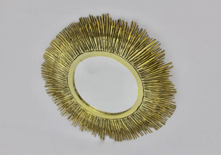 Mid-20th Century Brass Sunburst Mirror France, 1960s For Sale