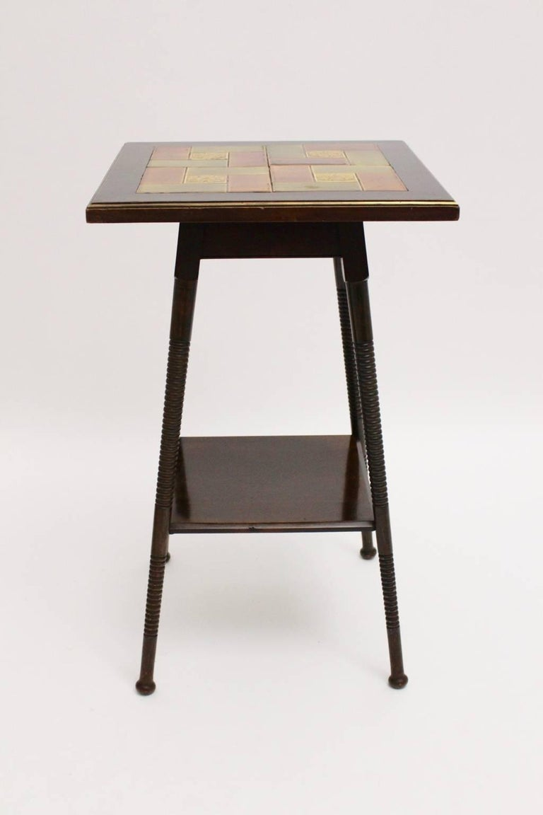 Austrian Art Deco Era Side Table, circa 1930 with Ceramic Tiles Used by Adolf Loos For Sale