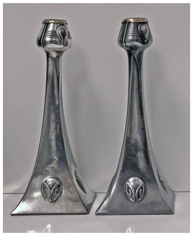 Pair of WMF Art Nouveau Pewter Candlesticks, Albin Muller, Germany, circa 1906 In Good Condition For Sale In Toronto, Ontario