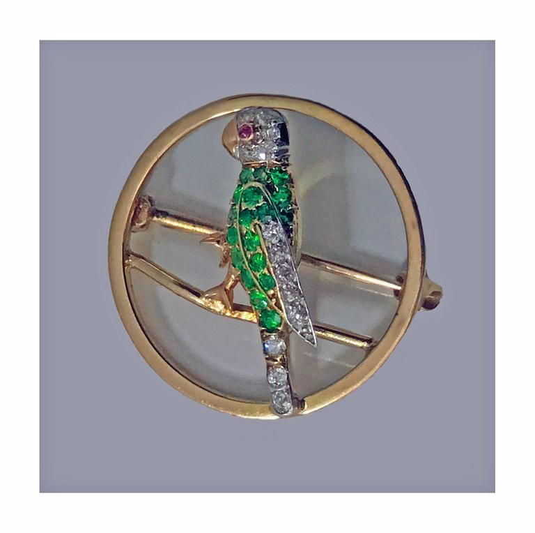 Demantoid, Diamond and Ruby Parrot Pin, circa 1920 In Good Condition For Sale In Toronto, Ontario