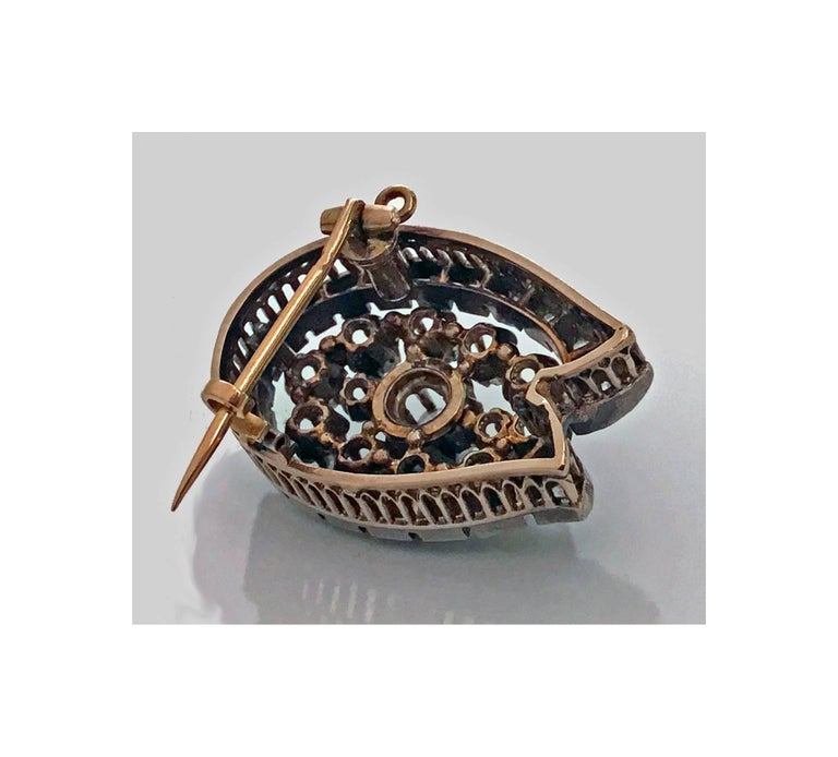 Gold French 19th Century Diamond Brooch Pendant, circa 1870 For Sale