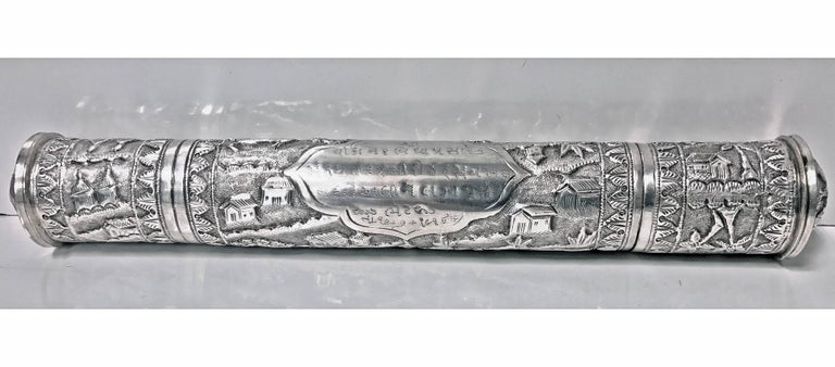 Antique Silver Scroll Document Holder, circa 1900 In Good Condition For Sale In Toronto, Ontario