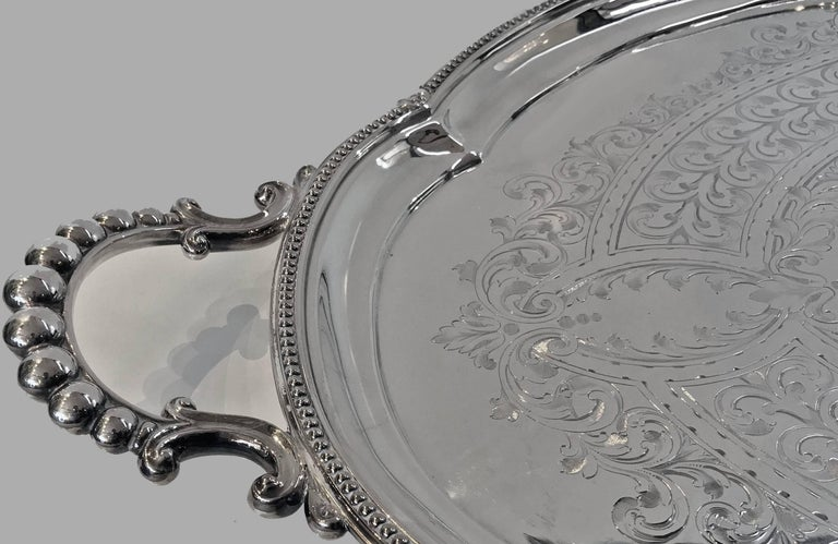 Adam Style Large Antique Silver Plate Tray, Walker and Hall, circa 1890 For Sale