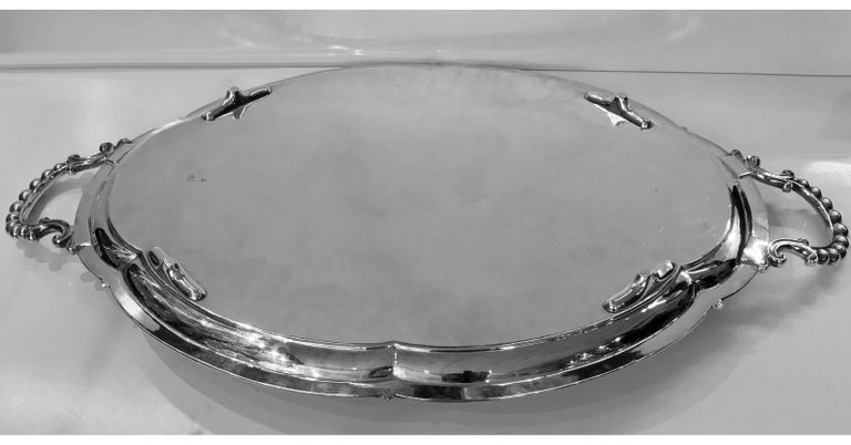 English Large Antique Silver Plate Tray, Walker and Hall, circa 1890 For Sale