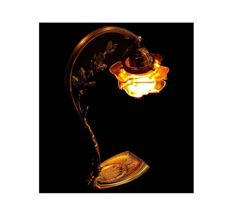20th Century French Art Nouveau Desk Table Bronze Lamp, circa 1920 For Sale