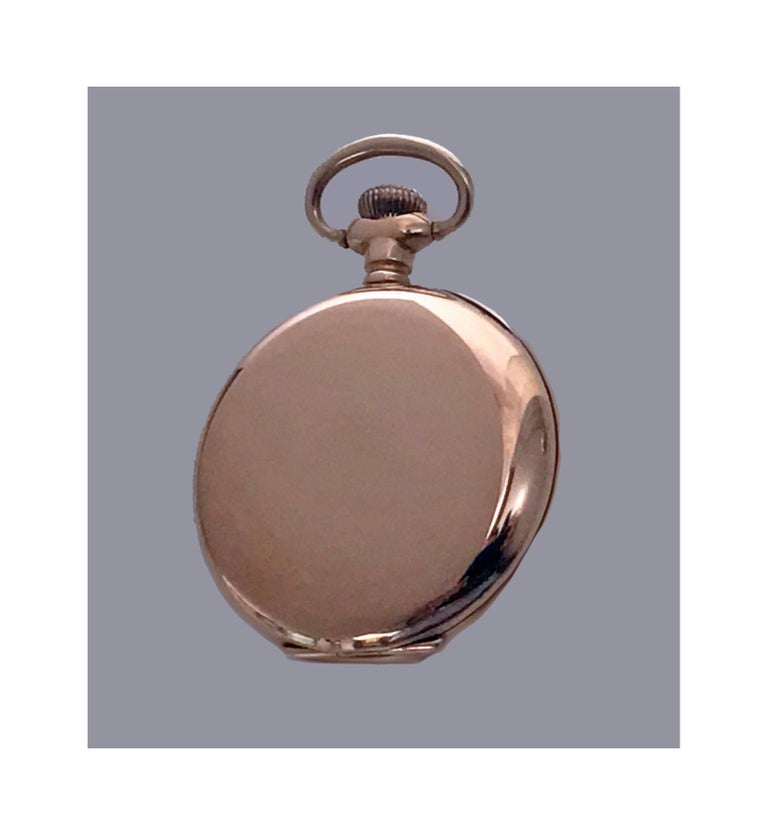 American Waltham 14-Karat Stem Wind Gold Hunter Case Pocket Watch, circa 1900 7