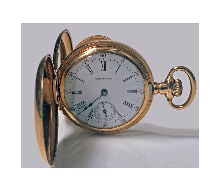 American Waltham 14-Karat Stem Wind Gold Hunter Case Pocket Watch, circa 1900 5