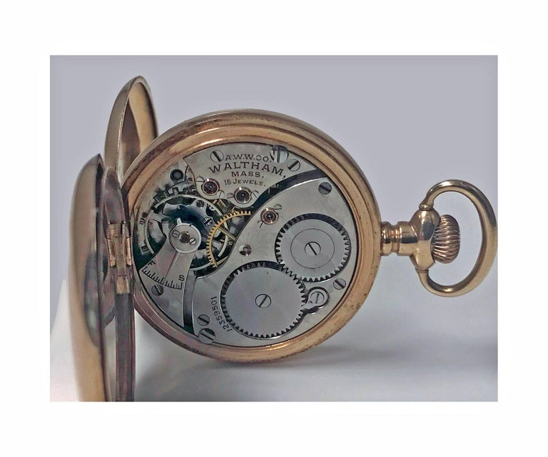 American Waltham 14-Karat Stem Wind Gold Hunter Case Pocket Watch, circa 1900 2