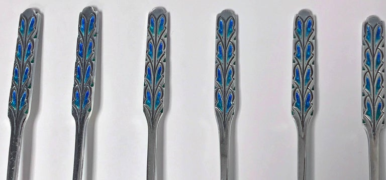 English Set of Liberty Enamel Spoons, Birmingham 1925, Fitted Box For Sale