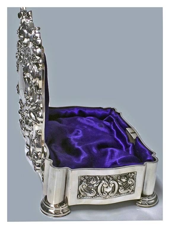 Large Antique Silver Casket Jewellery Box at 1stdibs