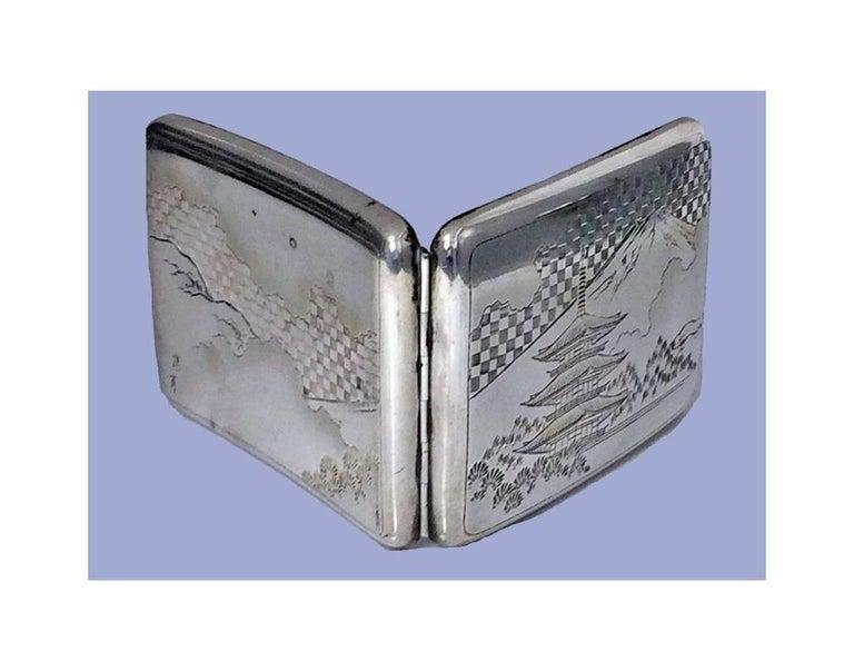 Asian Fine Japanese 950 Silver Box Case, circa 1920 For Sale