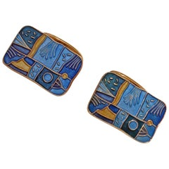 David Andersen Enamel Spring Cufflinks, Norway, circa 1959