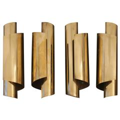 Pair of 1970s Brass Wall Lamps