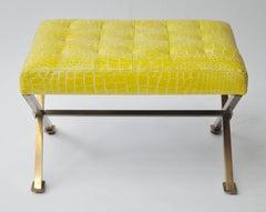 Yellow Alligator Brass Frame Bench