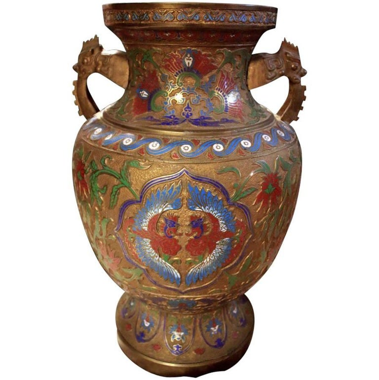 Early 20th Century Champlevé Enamel and Bronze Vase