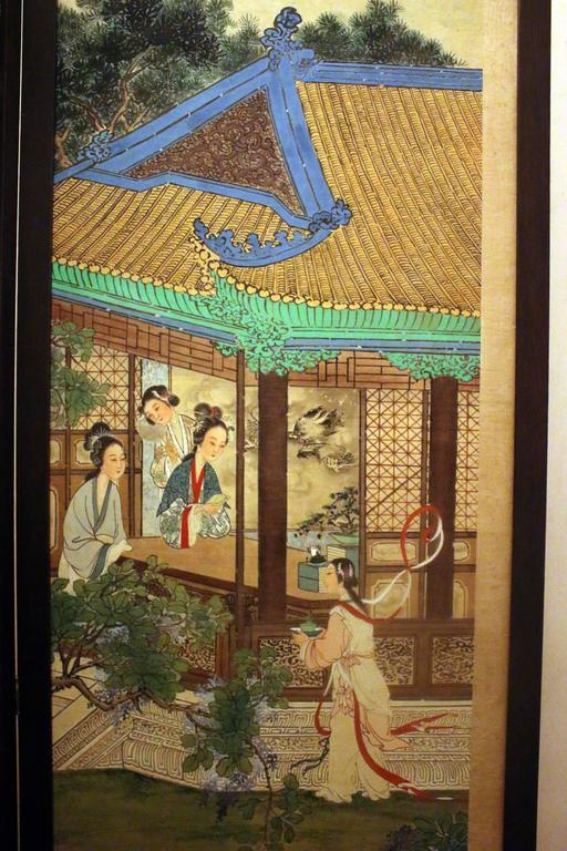 19th century Chinese Four-Panel Screen in Teak Wood Frame In Good Condition For Sale In Savannah, GA
