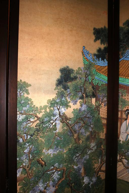 19th Century 19th century Chinese Four-Panel Screen in Teak Wood Frame For Sale
