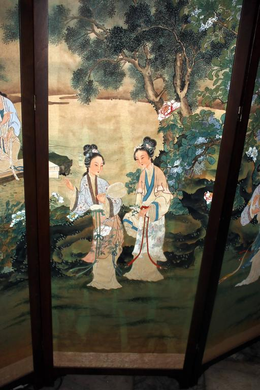 Silk 19th century Chinese Four-Panel Screen in Teak Wood Frame For Sale