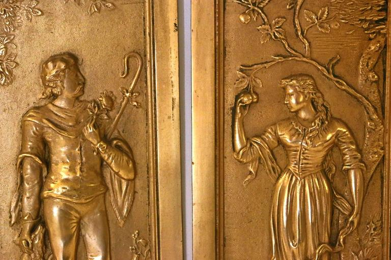 Late Victorian 19th Century Cast Bronze Relief Panels For Sale