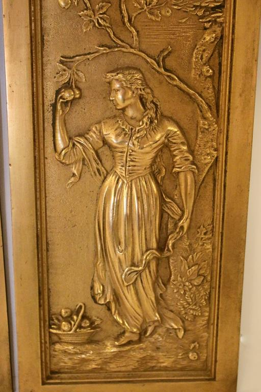 English 19th Century Cast Bronze Relief Panels For Sale