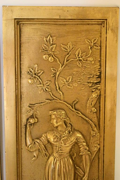 Brass 19th Century Cast Bronze Relief Panels For Sale