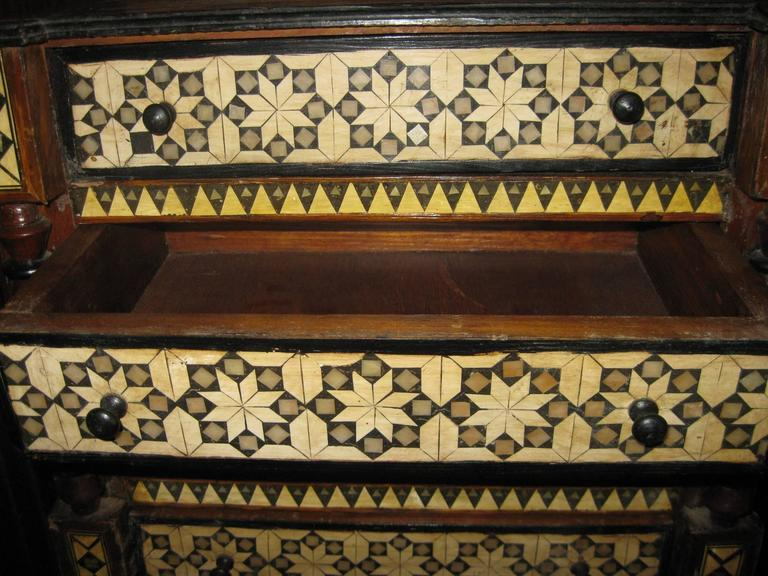 19th Century Inlaid Moroccan Miniature Chest In Good Condition For Sale In Savannah, GA