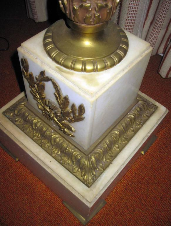 19th Century Louis XVI Style Gilded Marble Pedestal In Good Condition For Sale In Savannah, GA