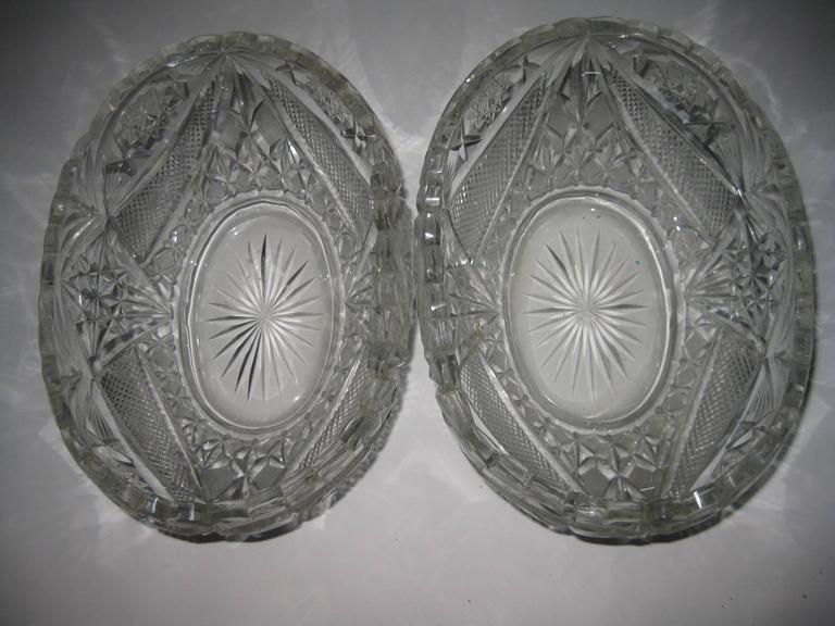 Georgian Pair of 19th Century Irish Crystal Fruit Bowls For Sale