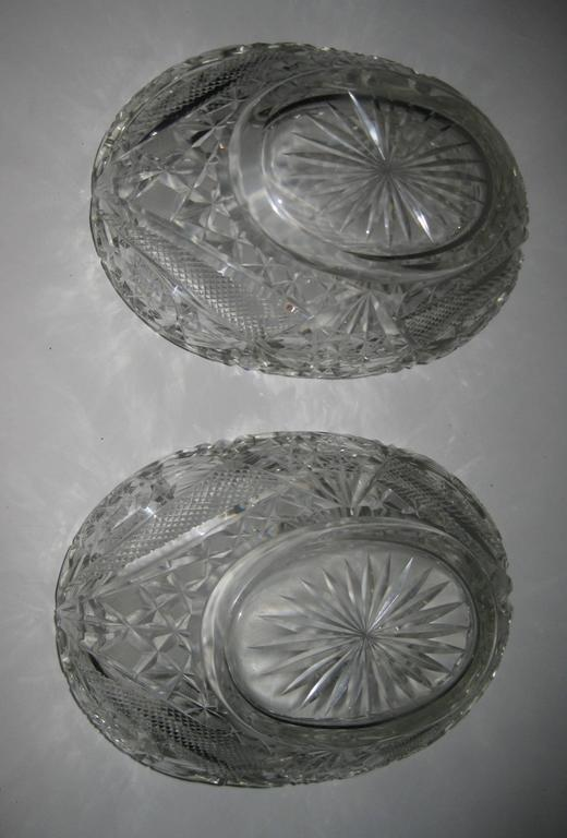 Pair of 19th Century Irish Crystal Fruit Bowls For Sale 2