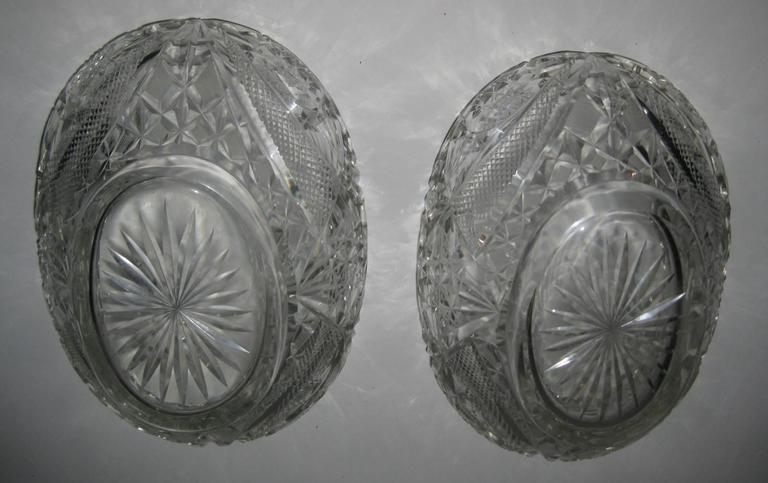 Pair of 19th Century Irish Crystal Fruit Bowls For Sale 5