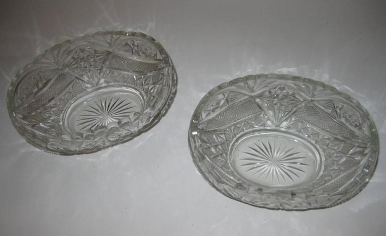 Pair of 19th Century Irish Crystal Fruit Bowls For Sale 6