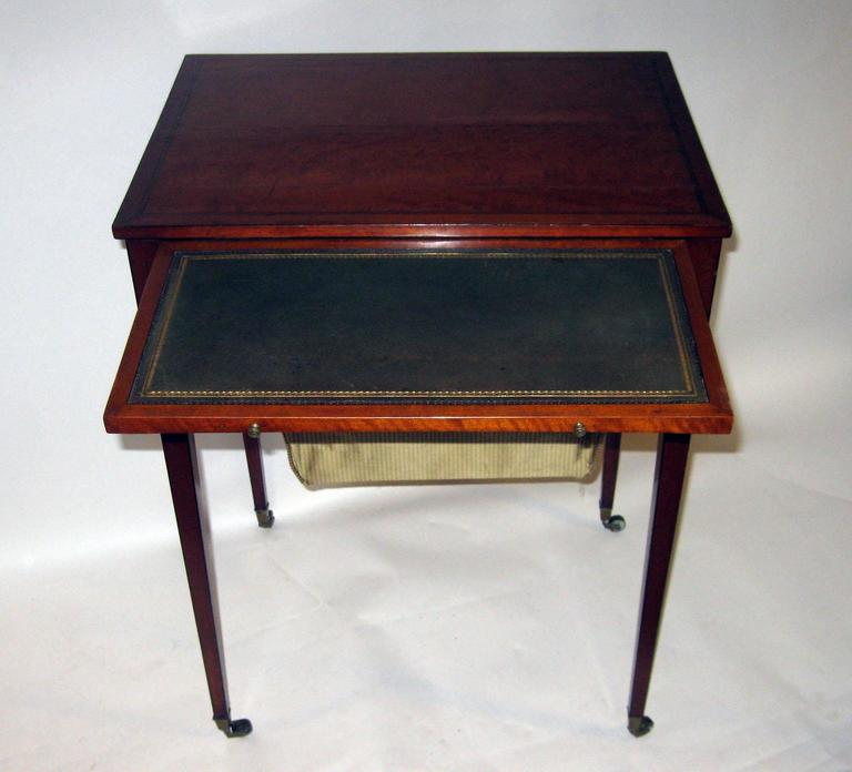 Late 18th Century 18th Century Hepplewhite Writing Table with Work Basket For Sale