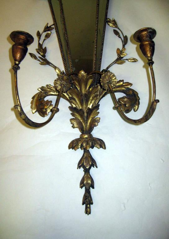 Baroque 19th Century Italian Gilt Wood Wall Sconces of Monumental Size For Sale