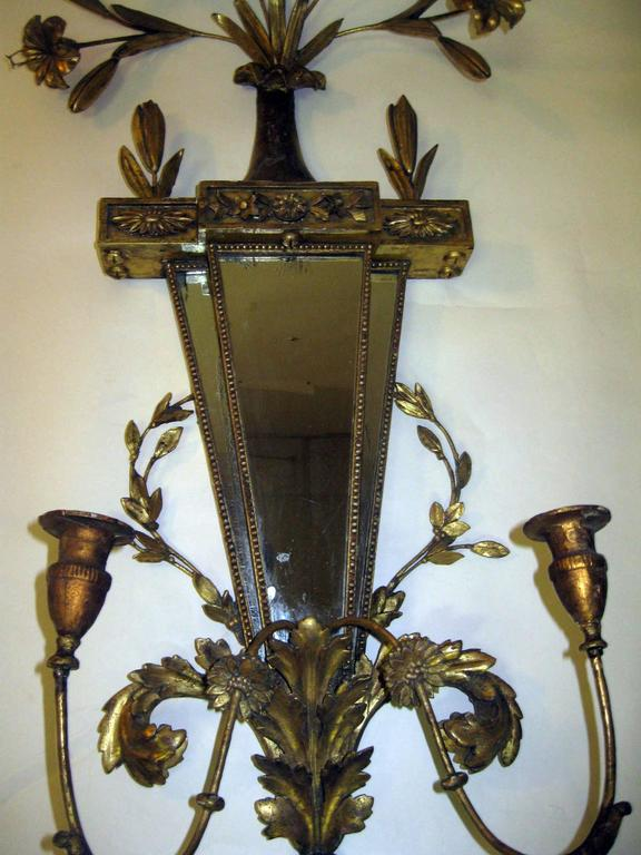 19th Century Italian Gilt Wood Wall Sconces of Monumental Size In Good Condition For Sale In Savannah, GA