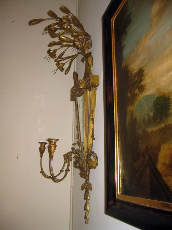 19th Century Italian Gilt Wood Wall Sconces of Monumental Size For Sale 1