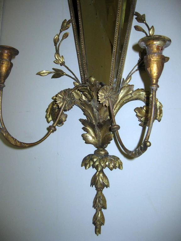 19th Century Italian Gilt Wood Wall Sconces of Monumental Size For Sale 4