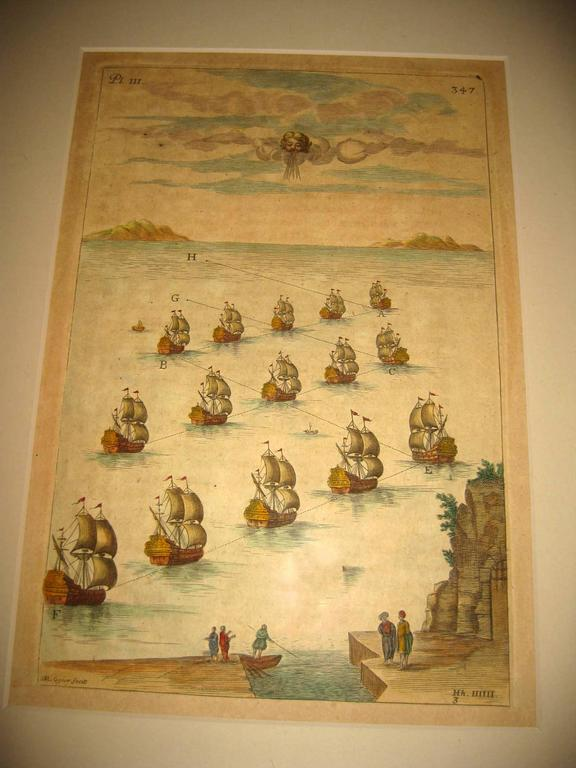 Elizabethan 18th century Set Hand Colored Nautical Engravings For Sale