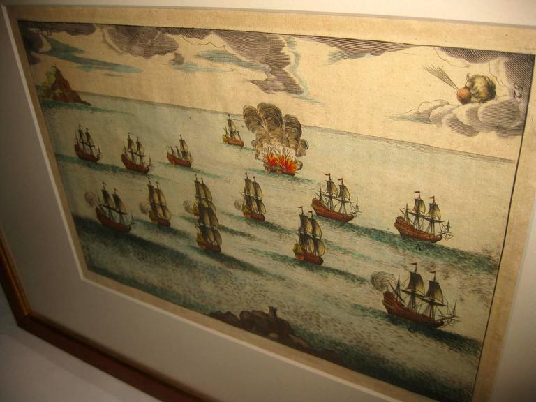 Signed M. Ogier (Fecit:by), this set of four hand colored engravings is part of a larger edition of plates. These plates are numbered PL 16, 347, 365 and 386. The subject is probably the Spanish Armada. Beautiful color and detail. Newly matted and