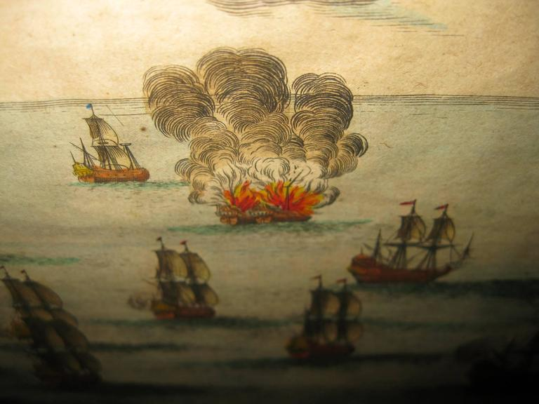 18th Century and Earlier 18th century Set Hand Colored Nautical Engravings For Sale