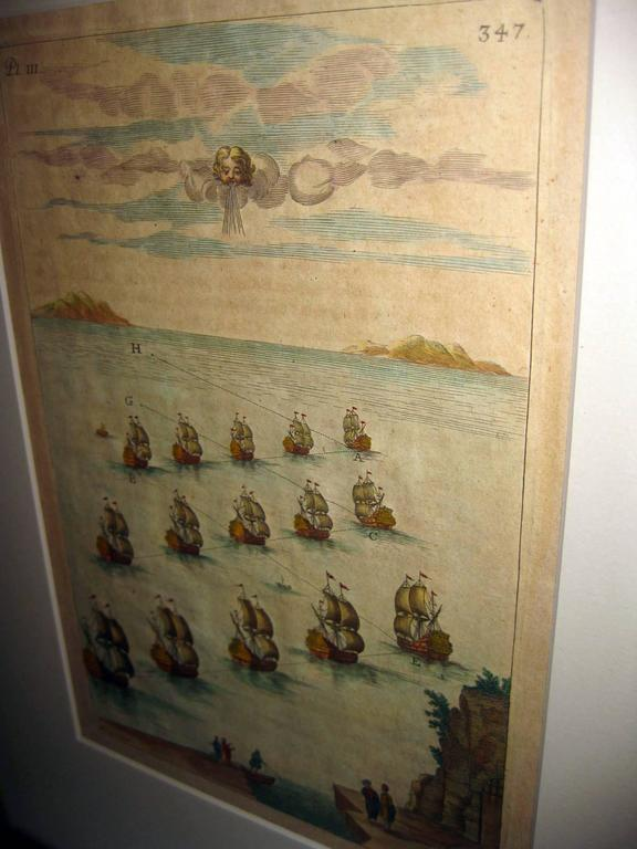 18th century Set Hand Colored Nautical Engravings For Sale 2