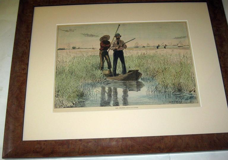 Set of four prints; Snipe Shooting- 1898, A Pot Hunter-1884, A Tempting Shot- 1884, Rail Shooting-1898, from Harper's Weekly, New York, by A.B. Frost. Beautifully newly matted and framed in wooden frames. Frame edge measures 1.75 inches